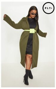 Plus Khaki Longline Duster Coat, Green