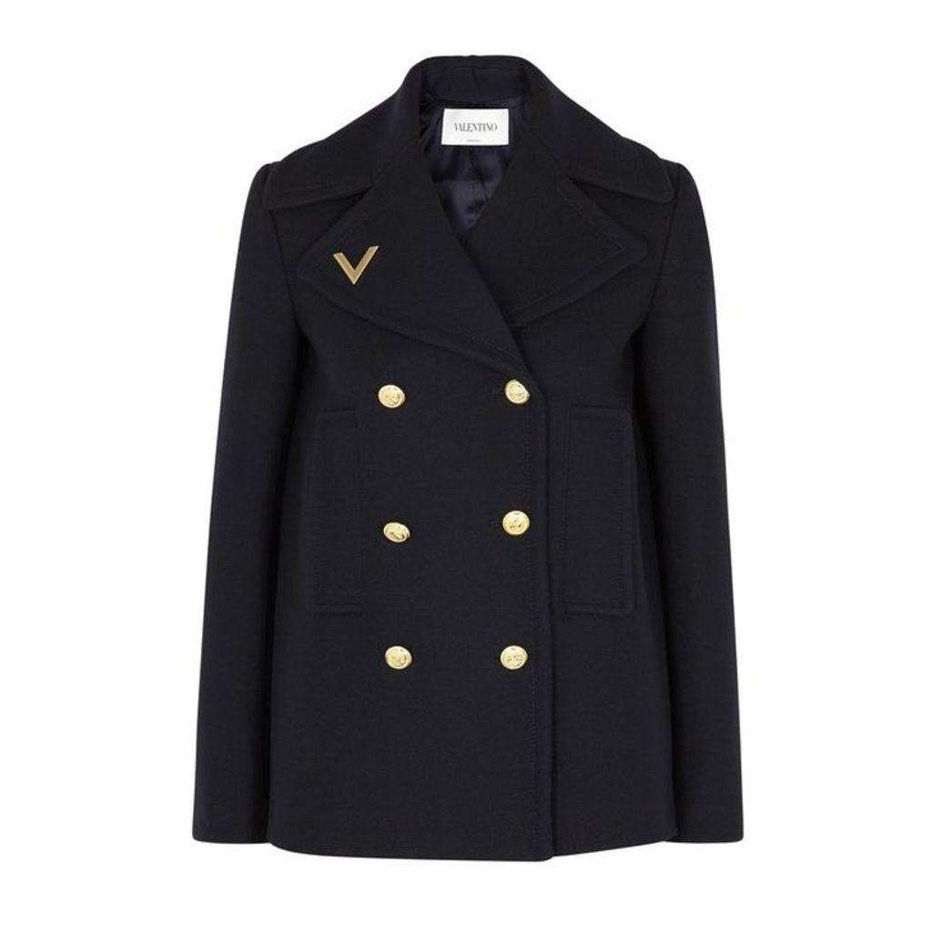 Valentino Navy Wool Peacoat