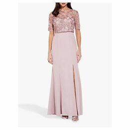 Adrianna Papell Long Sequin Crepe Dress, Quartz