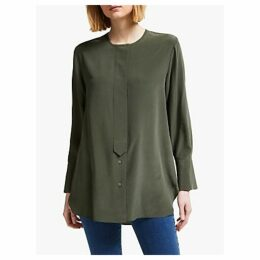 John Lewis & Partners Silk Collarless Shirt