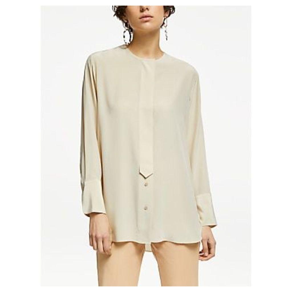 John Lewis & Partners Silk Collarless Shirt