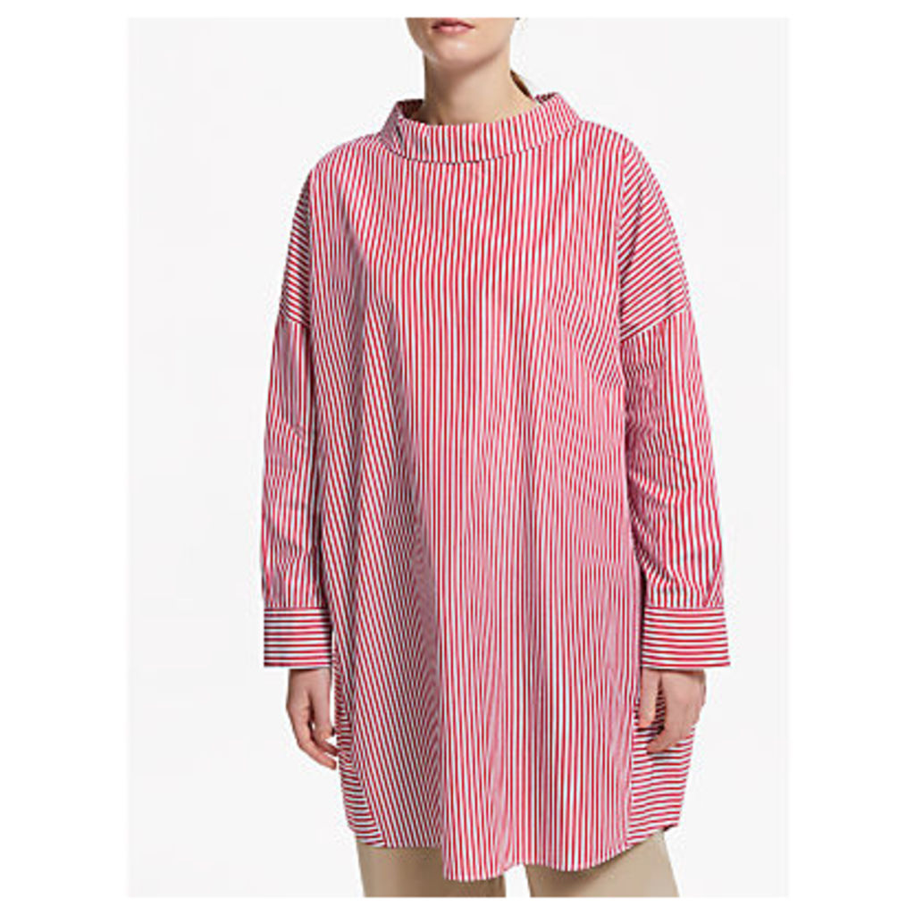 Kin Poplin Stripe Tunic Top, Red