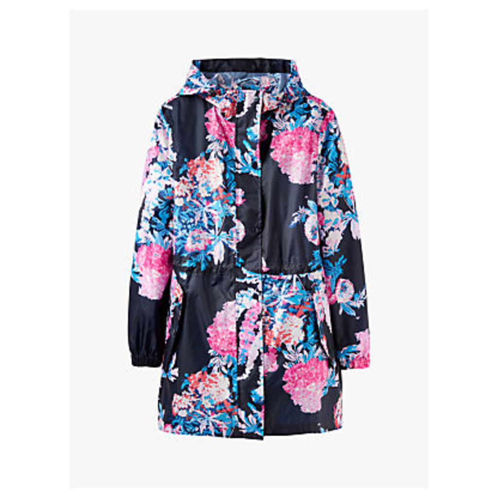 Joules Golightly Pack-Away Cottage Floral Print Waterproof Parka Coat, Navy