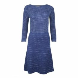 Navy Spot and Stripe Knitted Dress