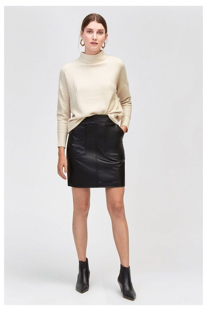 Womens Warehouse Black Pocket Detail PU Skirt -  Black
