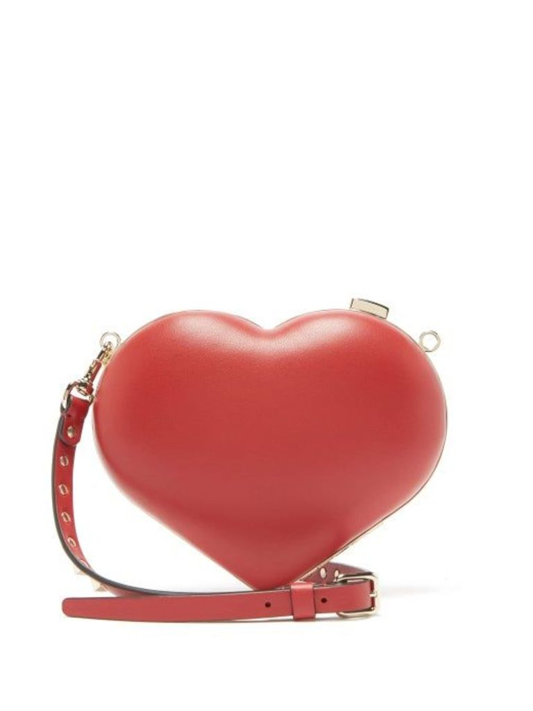 Valentino - Carry Secrets Leather Heart Clutch - Womens - Red