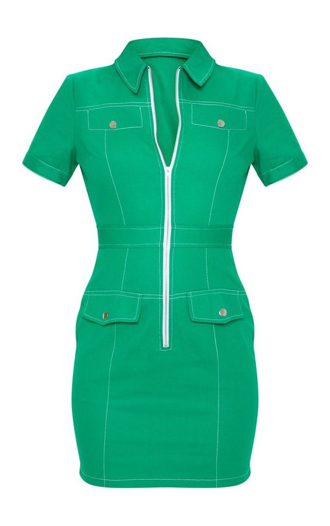 Green Zip Front Contrast Stitching Shift Dress, Green
