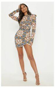 Multi Chain Print Puff Sleeve Bodycon Dress, Multi
