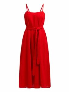 Mara Hoffman - Philomena Gathered Cotton Gauze Midi Dress - Womens - Red