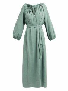 Loup Charmant - Textured Organic Cotton Gauze Midi Dress - Womens - Green