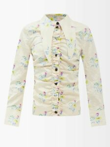 Loup Charmant - Textured Organic Cotton Gauze Midi Dress - Womens - Dark Blue