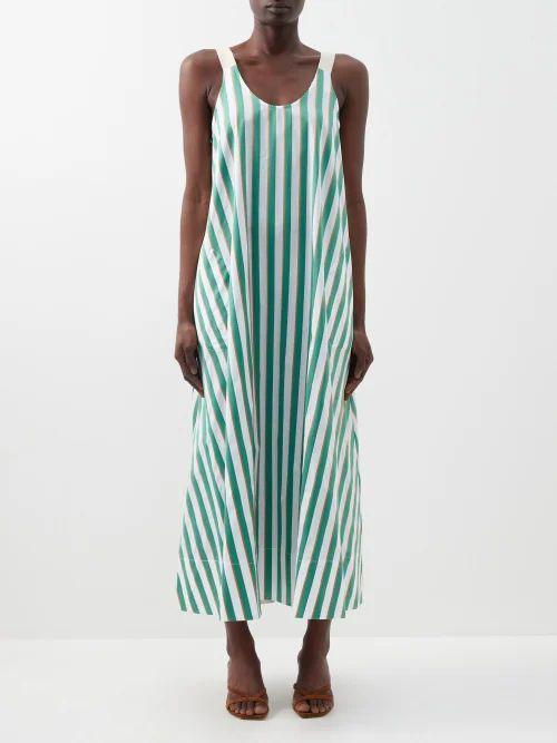 Thierry Colson - Talitha Cotton And Silk Blend Stripe Kaftan - Womens - Pink Stripe