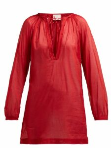 On The Island By Marios Schwab - Floreana V Neck Cotton Tunic - Womens - Red