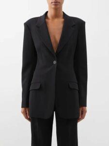 A.w.a.k.e. Mode - Asymmetric Gathered Sleeve Top - Womens - Black
