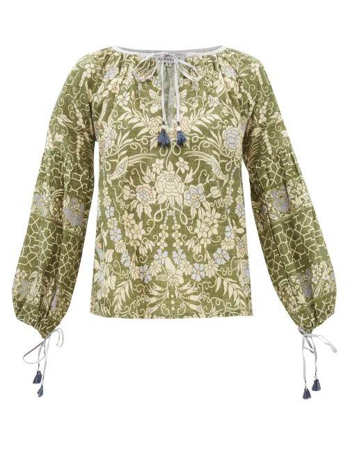 Miu Miu - Camouflage Print Cotton Gabardine Coat - Womens - Green Multi