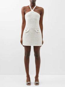 Blazé Milano - Pequod Double Breasted Check Linen Coat - Womens - Black White