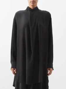 Maison Rabih Kayrouz - Panelled And Pleated V Neck Faille Gown - Womens - Pink