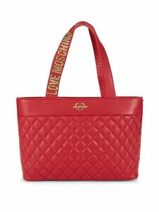 Quilted Faux Leather Logo Tote