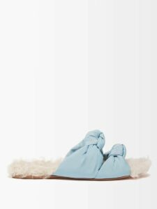 Miu Miu - Logo Short Sleeved Wool Sweater - Womens - Brown Multi