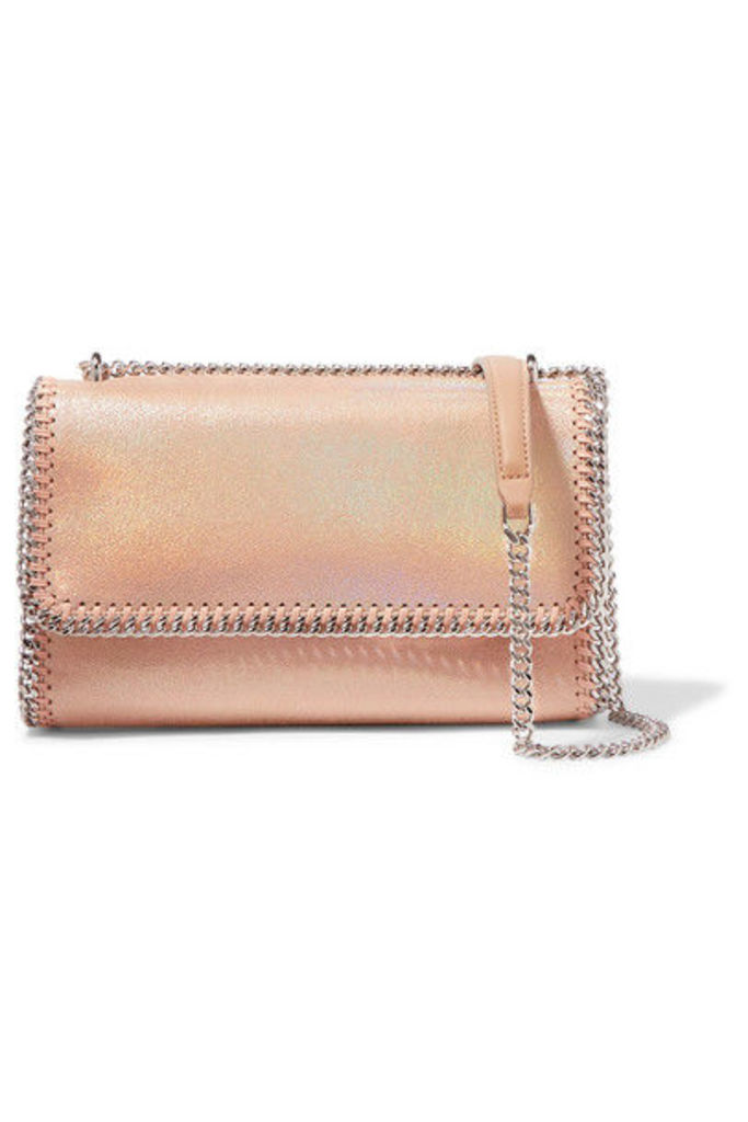 Stella McCartney - Flo Iridescent Faux Brushed-leather Shoulder Bag - Peach