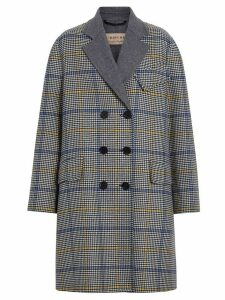 Burberry Double-faced Check Wool Cashmere Coat - Blue