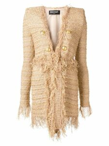 Balmain double breasted tweed coat - Gold