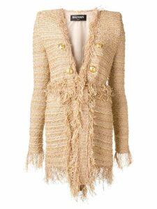 Balmain double breasted tweed coat - Gold