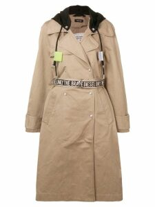 Diesel hooded trench coat - Brown