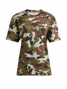 Miu Miu - Logo Embroidered Camouflage Print Cotton T Shirt - Womens - Green Multi