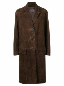 Prada single-breasted suede coat - Brown