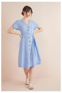 Womens Next Blue Button Through Linen Dress -  Blue