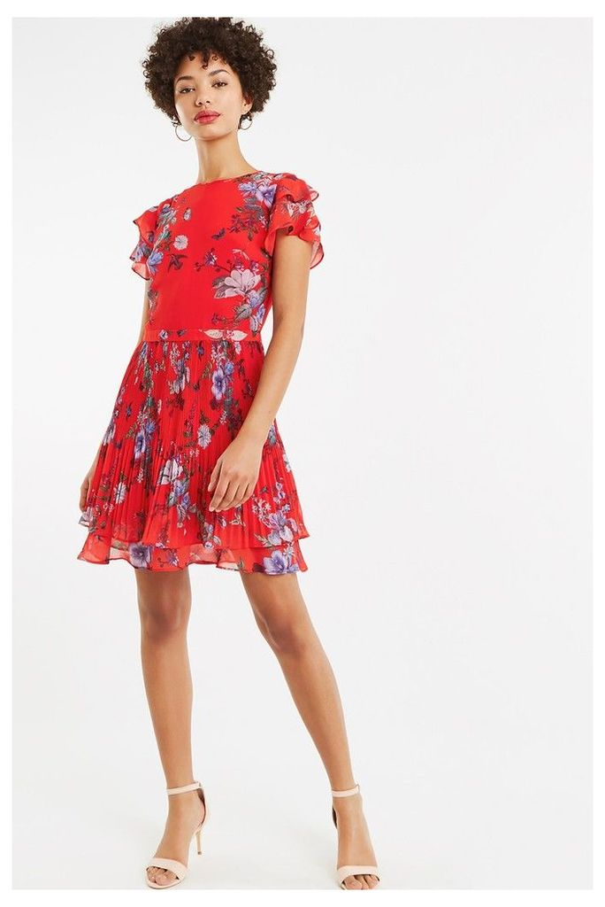 Womens Oasis Red Bloom Chiffon Pleat Skater Dress -  Red
