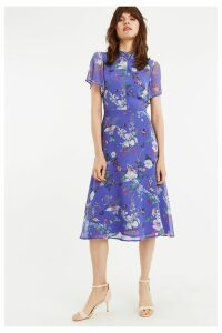 Womens Oasis Blue Bloom Chiffon Midi Dress -  Blue