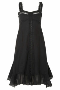 Charo Ruiz - Disa Crocheted Lace-paneled Cotton-blend Voile Dress - Black