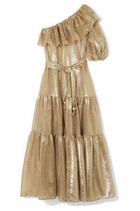 Lisa Marie Fernandez - Arden One-shoulder Ruffled Metallic Cotton-blend Voile Maxi Dress - Gold