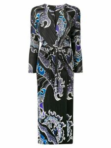 Pleats Please By Issey Miyake wave printed long coat - Black