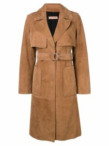 Yves Salomon belted midi coat - Brown