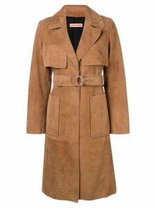 Yves Salomon belted midi coat - Brown