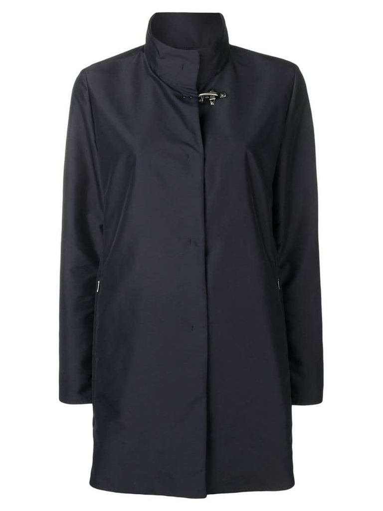 Fay concealed front coat - Blue