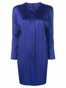 Pleats Please Issey Miyake micro pleated coat - Blue