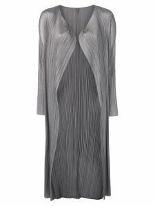 Pleats Please Issey Miyake micro pleated coat - Grey