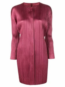 Pleats Please By Issey Miyake micro pleated coat - Red