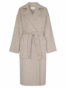 Nanushka alamo dogtooth wool and silk-blend wrap coat - Grey