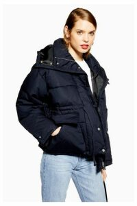 Womens Tie Waist Navy Blue Parka Coat - Navy Blue, Navy Blue