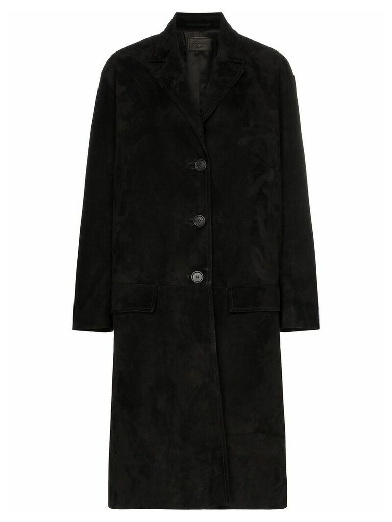 Prada Single-breasted suede coat - Black