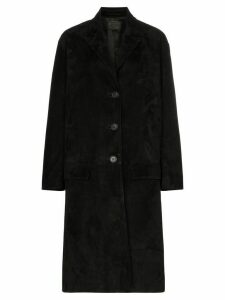 Prada Single-breasted suede coat - Black