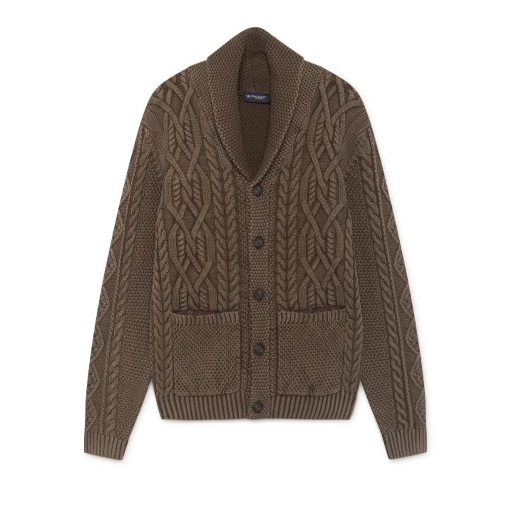 Hackett Washed Cable Knit Cotton Shawl Neck Cardigan
