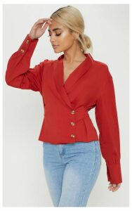 Petite Red Button Front Blouse, Red