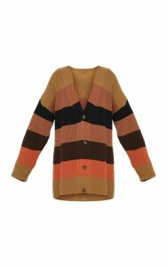 Rust Striped Knitted Cardigan, Orange