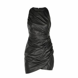 VERSACE Black Ruched Leather Mini Dress